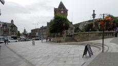 Town square with clocktower in the background
