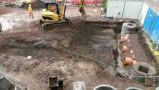 Excavation works with mini digger